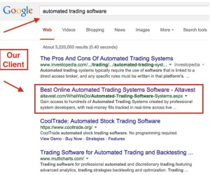 Client SEO results